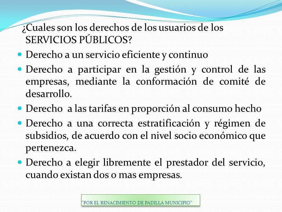 ¿Cuales son los derechos de los usuarios de los SERVICIOS PÚBLICOS