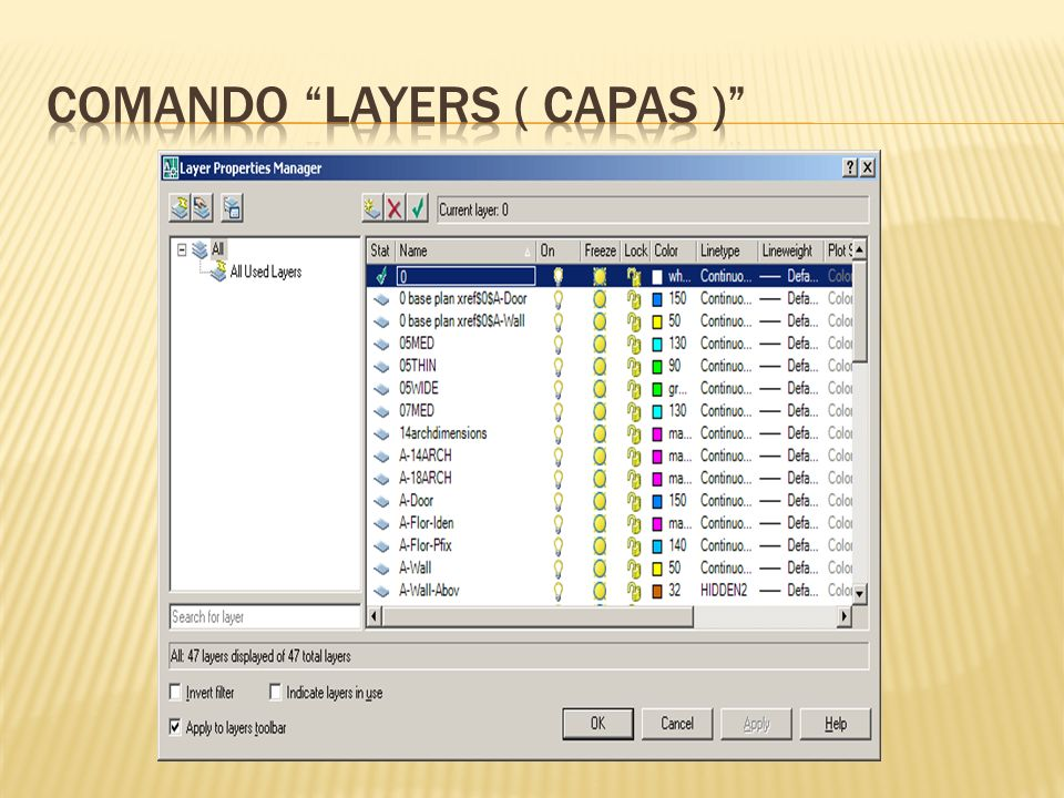 comando layers ( capas )