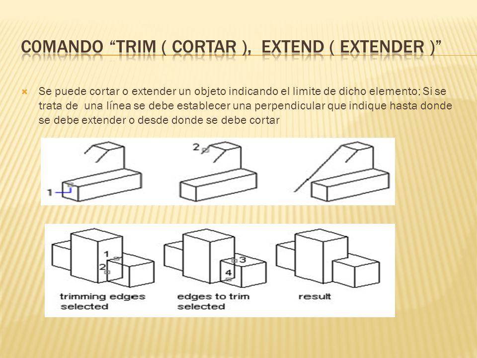 C0mando trim ( cortar ), extend ( extender )