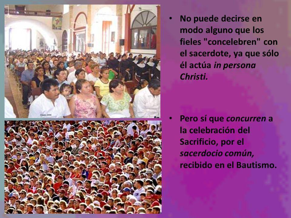 No puede decirse en modo alguno que los fieles concelebren con el sacerdote, ya que sólo él actúa in persona Christi.