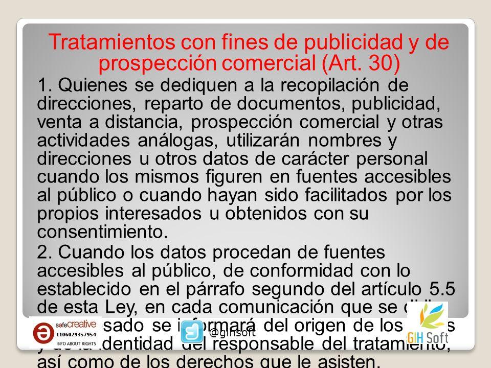 Tratamientos con fines de publicidad y de prospección comercial (Art