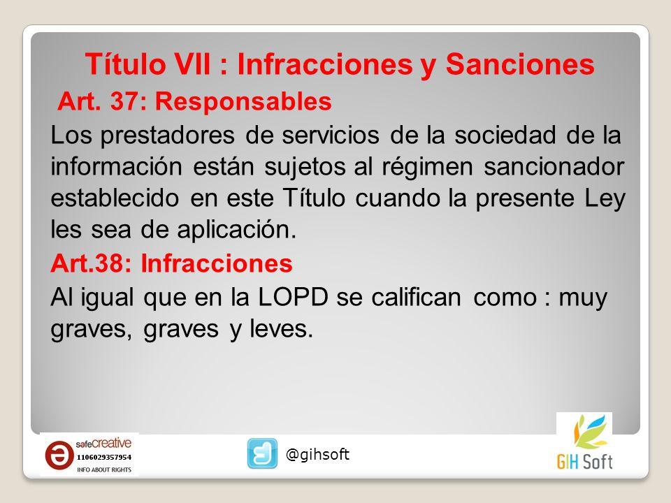 Título VII : Infracciones y Sanciones