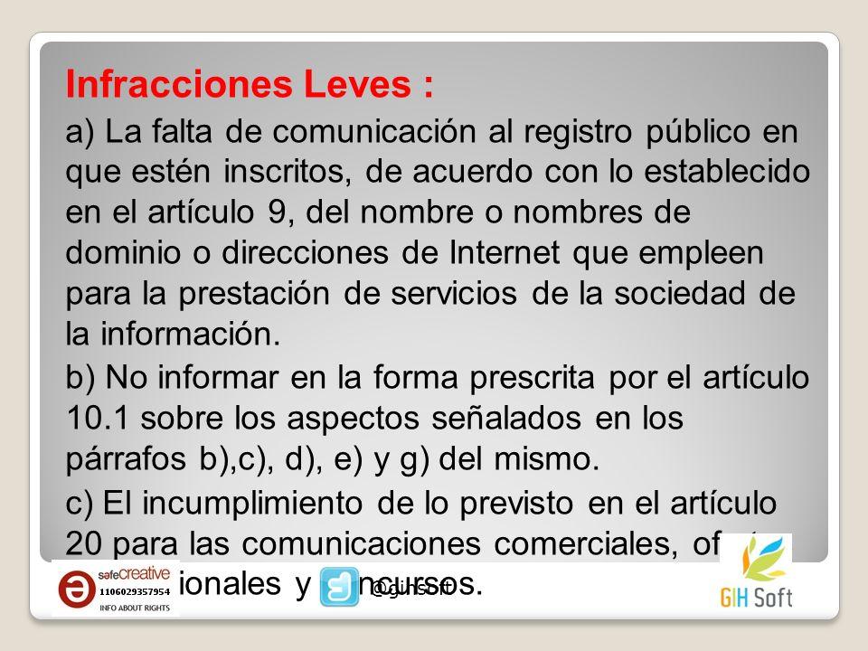 Infracciones Leves :