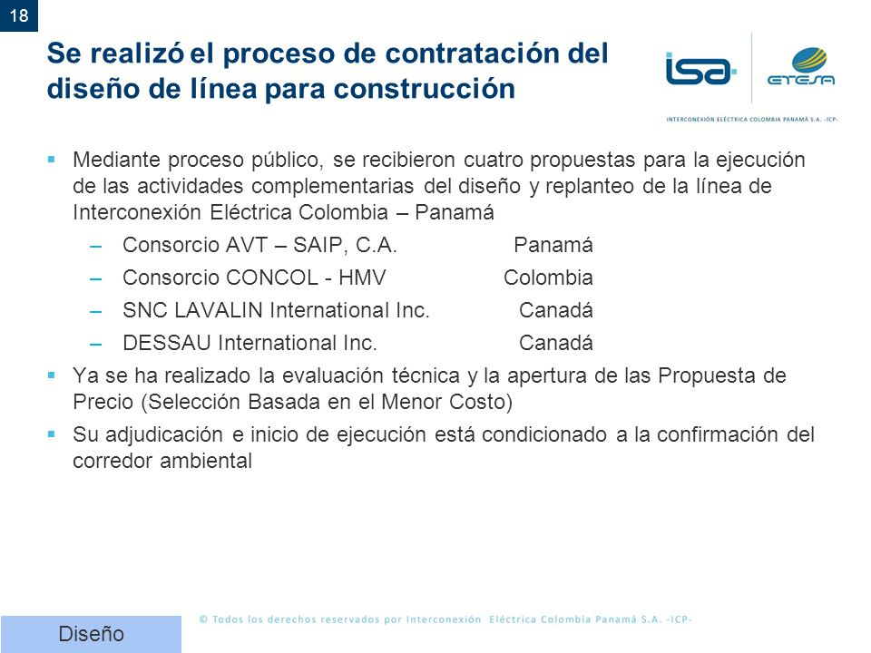 Se realizó el proceso de contratación del diseño de línea para construcción