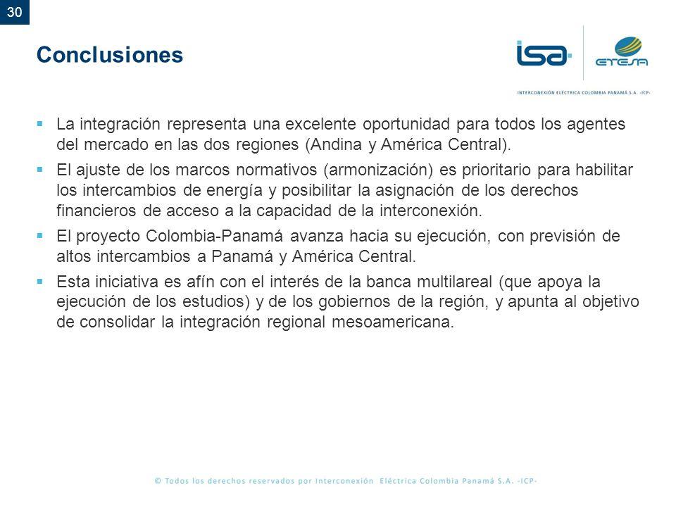Conclusiones La integración representa una excelente oportunidad para todos los agentes del mercado en las dos regiones (Andina y América Central).