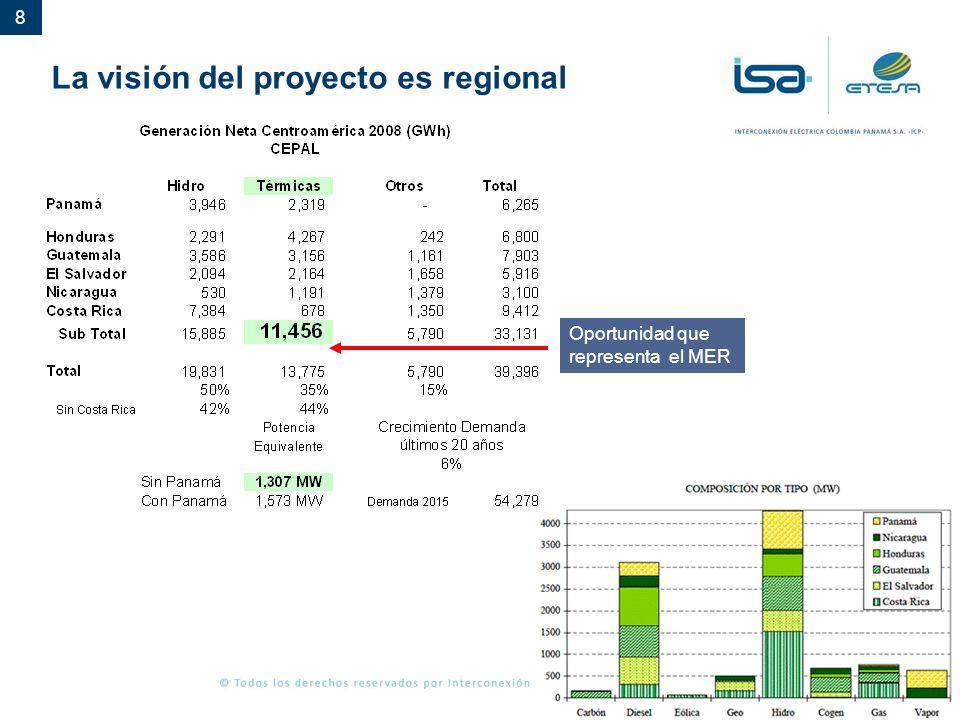 La visión del proyecto es regional
