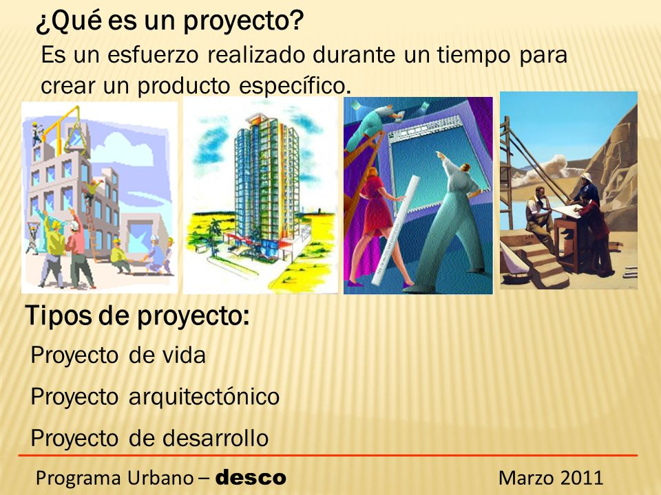 ¿Qué es un proyecto Tipos de proyecto:
