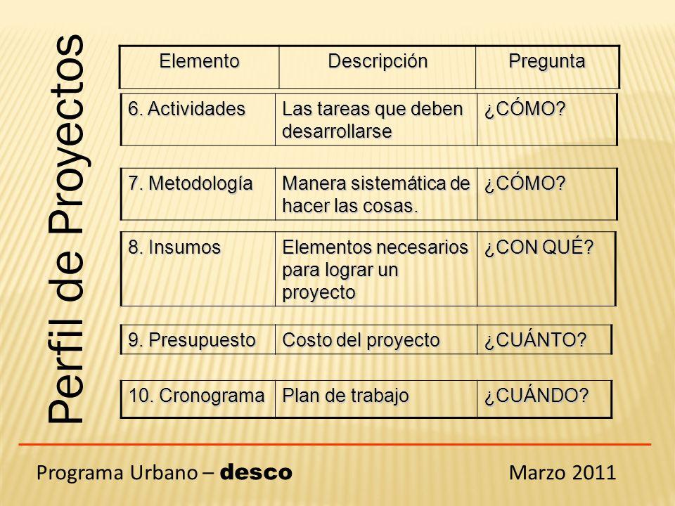 Perfil de Proyectos Programa Urbano – desco Marzo 2011 Elemento