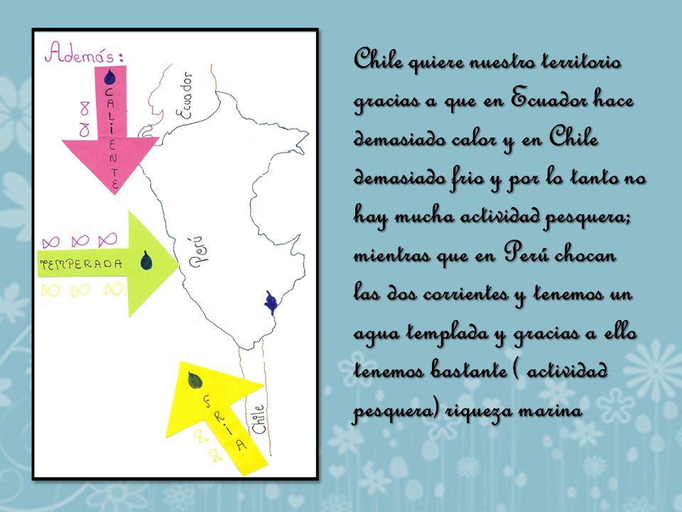 Chile quiere nuestro territorio gracias a que en Ecuador hace demasiado calor y en Chile demasiado frio y por lo tanto no hay mucha actividad pesquera; mientras que en Perú chocan las dos corrientes y tenemos un agua templada y gracias a ello tenemos bastante ( actividad pesquera) riqueza marina