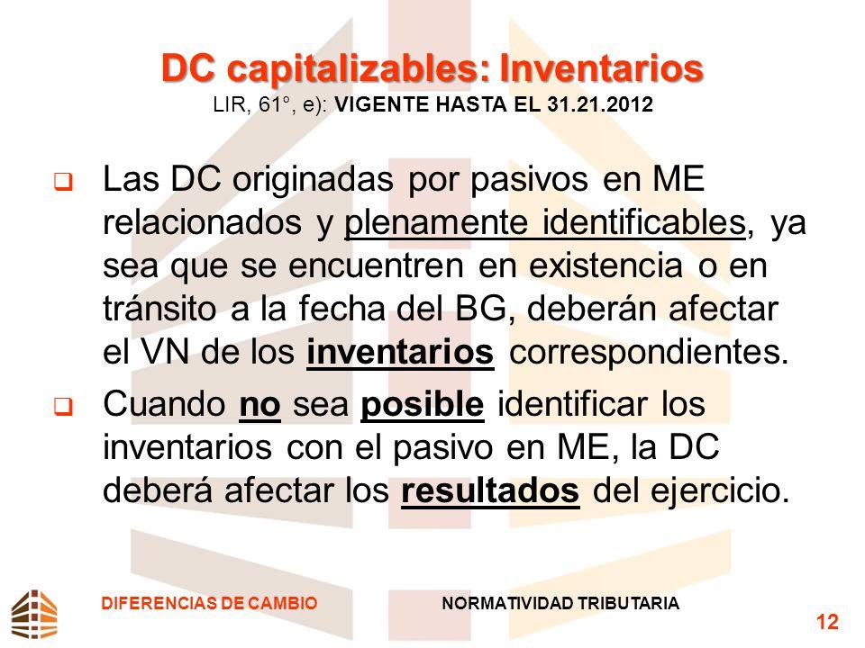 DC capitalizables: Inventarios LIR, 61°, e): VIGENTE HASTA EL 31. 21