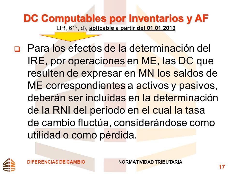 DC Computables por Inventarios y AF LIR, 61°, d), aplicable a partir del 01.01.2013