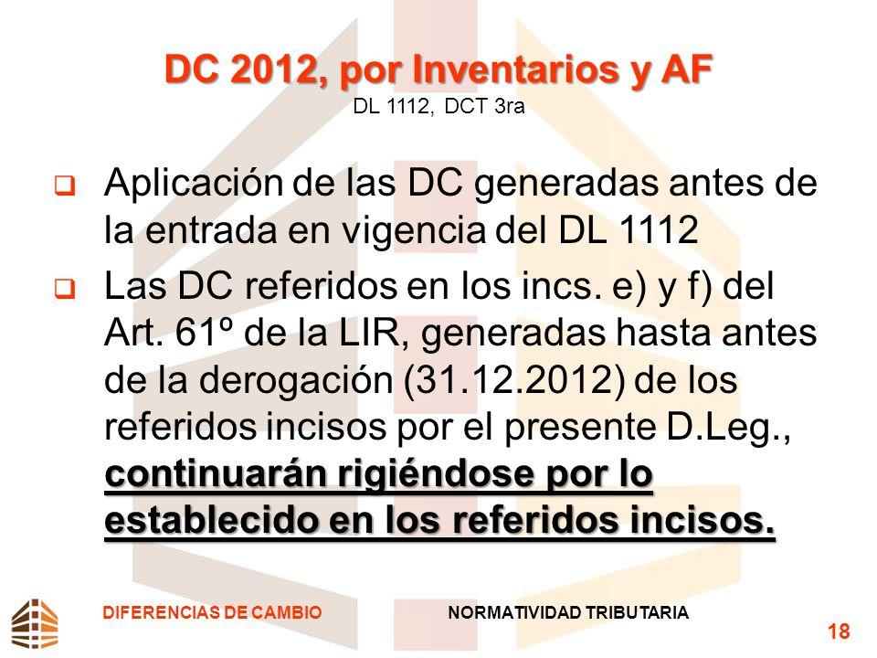 DC 2012, por Inventarios y AF DL 1112, DCT 3ra