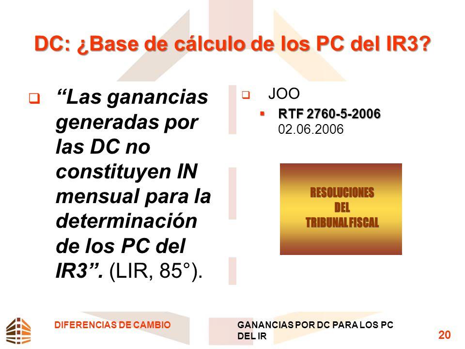 DC: ¿Base de cálculo de los PC del IR3