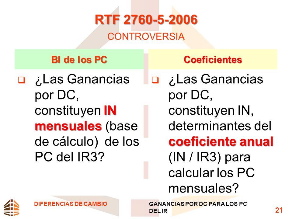RTF 2760-5-2006 CONTROVERSIA BI de los PC. Coeficientes. ¿Las Ganancias por DC, constituyen IN mensuales (base de cálculo) de los PC del IR3