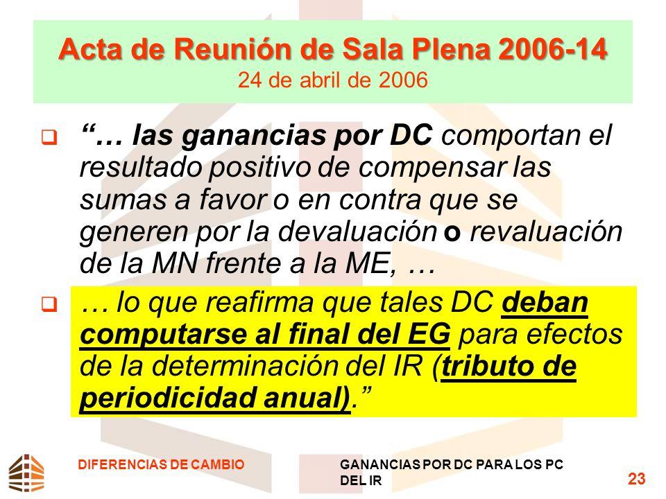 Acta de Reunión de Sala Plena 2006-14 24 de abril de 2006