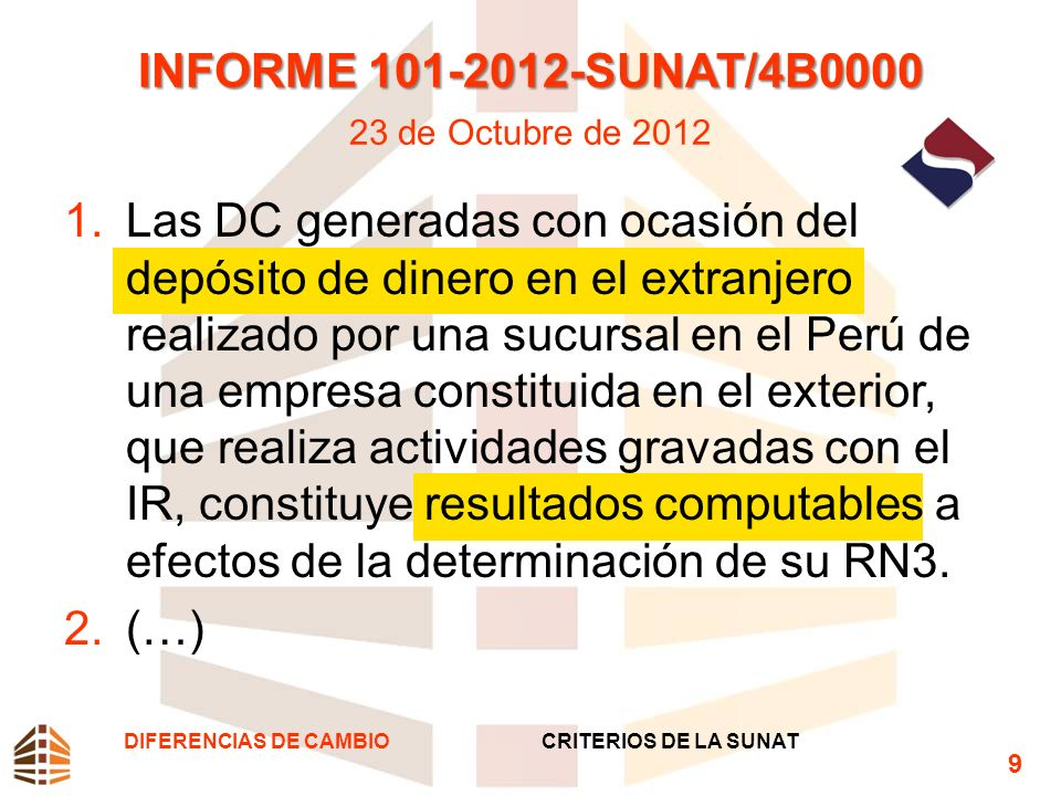 INFORME 101-2012-SUNAT/4B0000 23 de Octubre de 2012