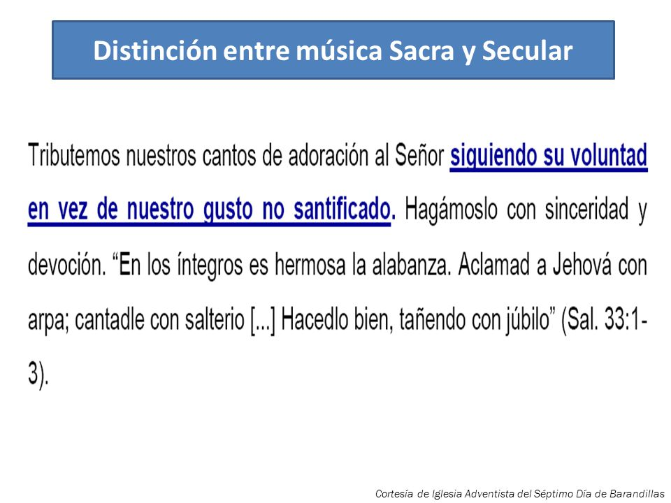 Distinción entre música Sacra y Secular