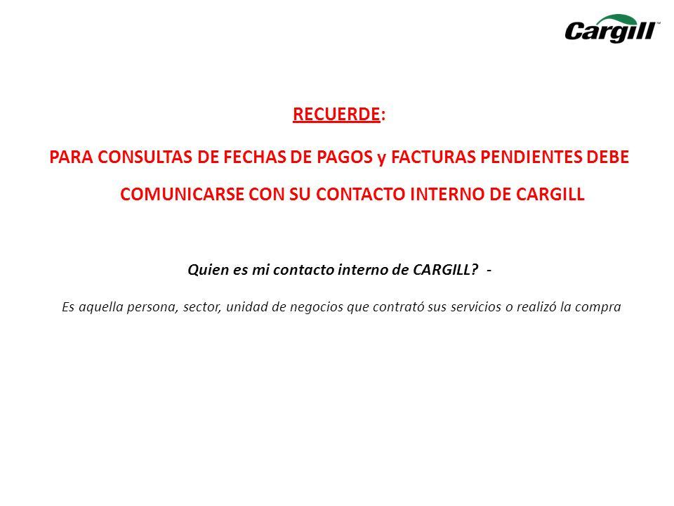 Quien es mi contacto interno de CARGILL -