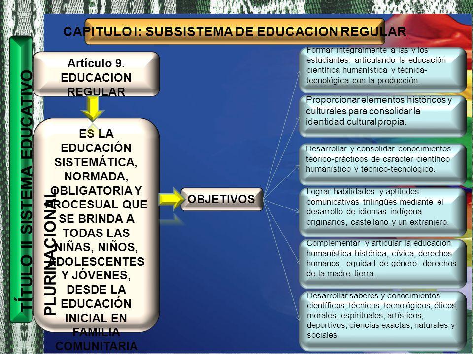 CAPITULO I: SUBSISTEMA DE EDUCACION REGULAR