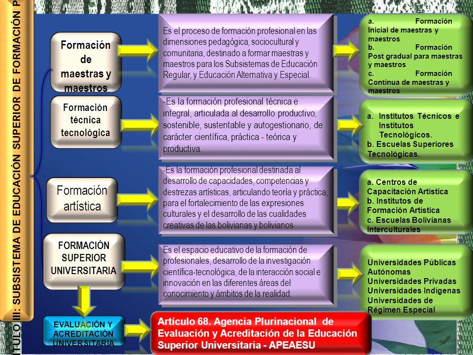 Formación de maestras y maestros Formación técnica tecnológica