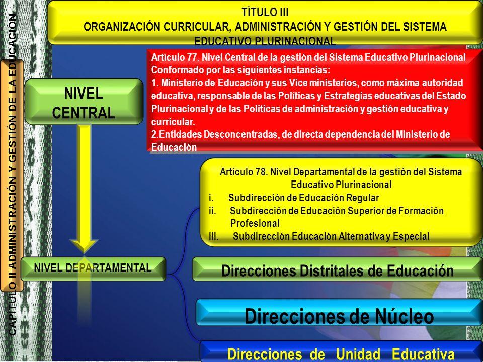 EDUCATIVO PLURINACIONAL Direcciones de Unidad Educativa