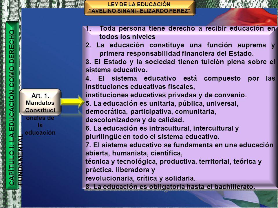 Art. 1. Mandatos Constitucionales de la educación