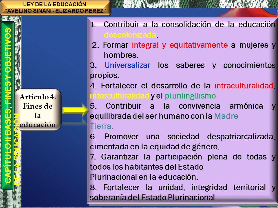 Artículo 4. Fines de la educación
