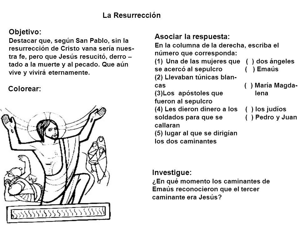 La Resurrección Objetivo: Asociar la respuesta: Colorear: Investigue: