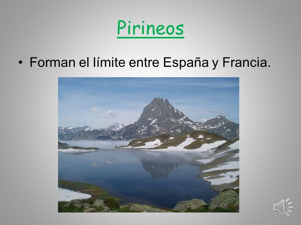 Pirineos Forman el límite entre España y Francia.