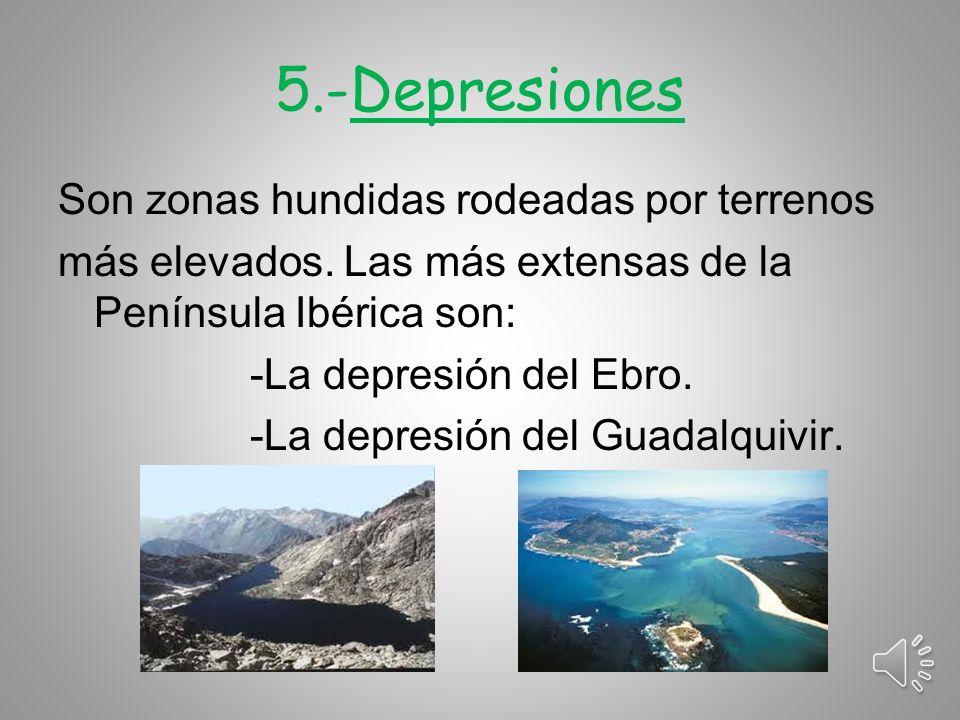 5.-Depresiones Son zonas hundidas rodeadas por terrenos