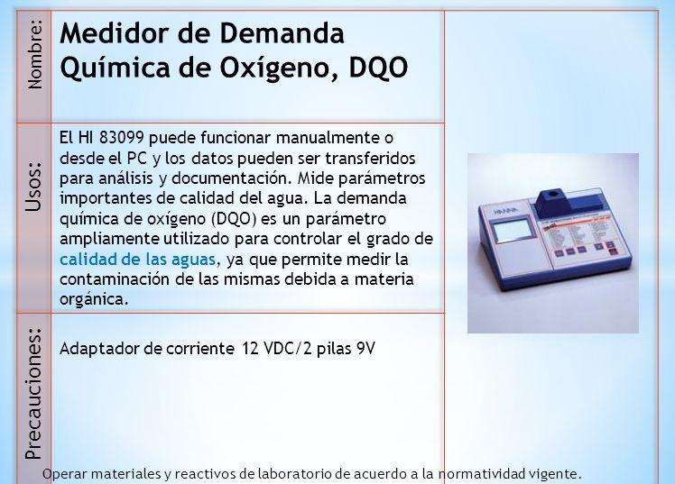 Medidor de Demanda Química de Oxígeno, DQO