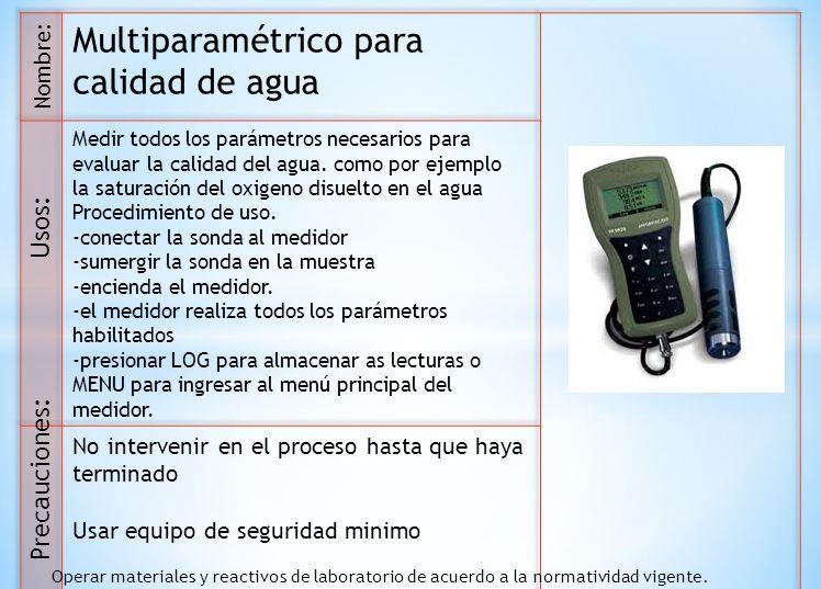 Multiparamétrico para calidad de agua