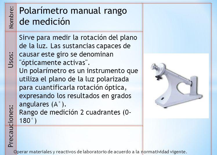 Polarímetro manual rango de medición