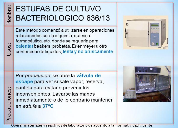 ESTUFAS DE CULTUVO BACTERIOLOGICO 636/13