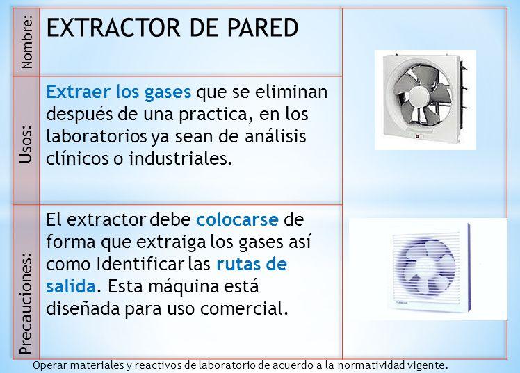 EXTRACTOR DE PARED Extraer los gases que se eliminan después de una practica, en los laboratorios ya sean de análisis clínicos o industriales.
