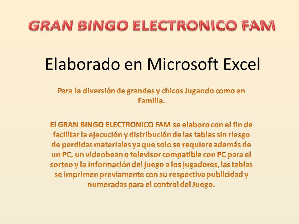 Elaborado en Microsoft Excel