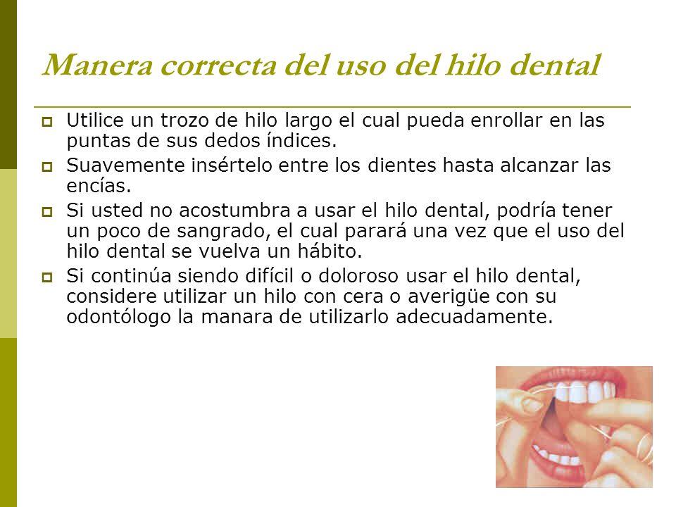 Manera correcta del uso del hilo dental