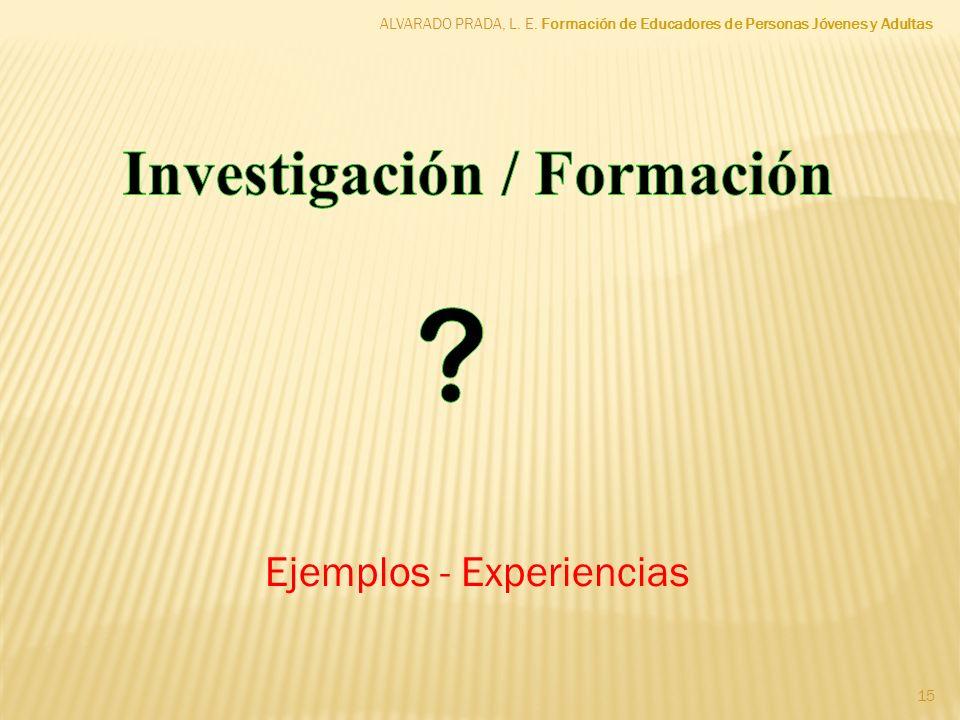 Investigación / Formación Ejemplos - Experiencias