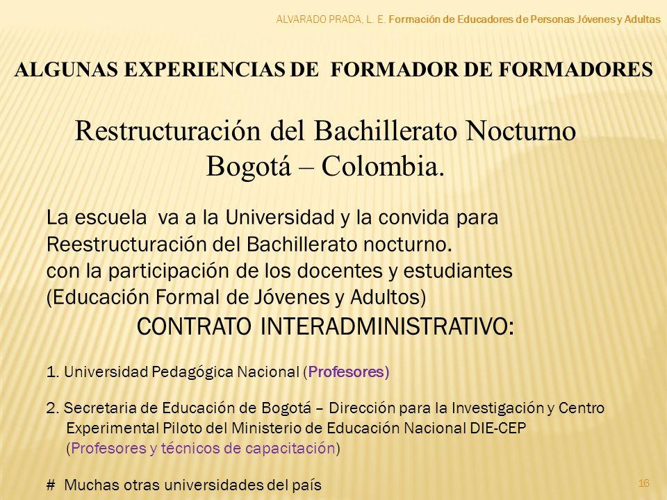 Restructuración del Bachillerato Nocturno Bogotá – Colombia.