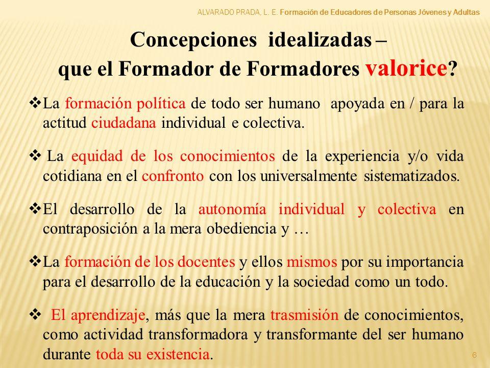 Concepciones idealizadas – que el Formador de Formadores valorice
