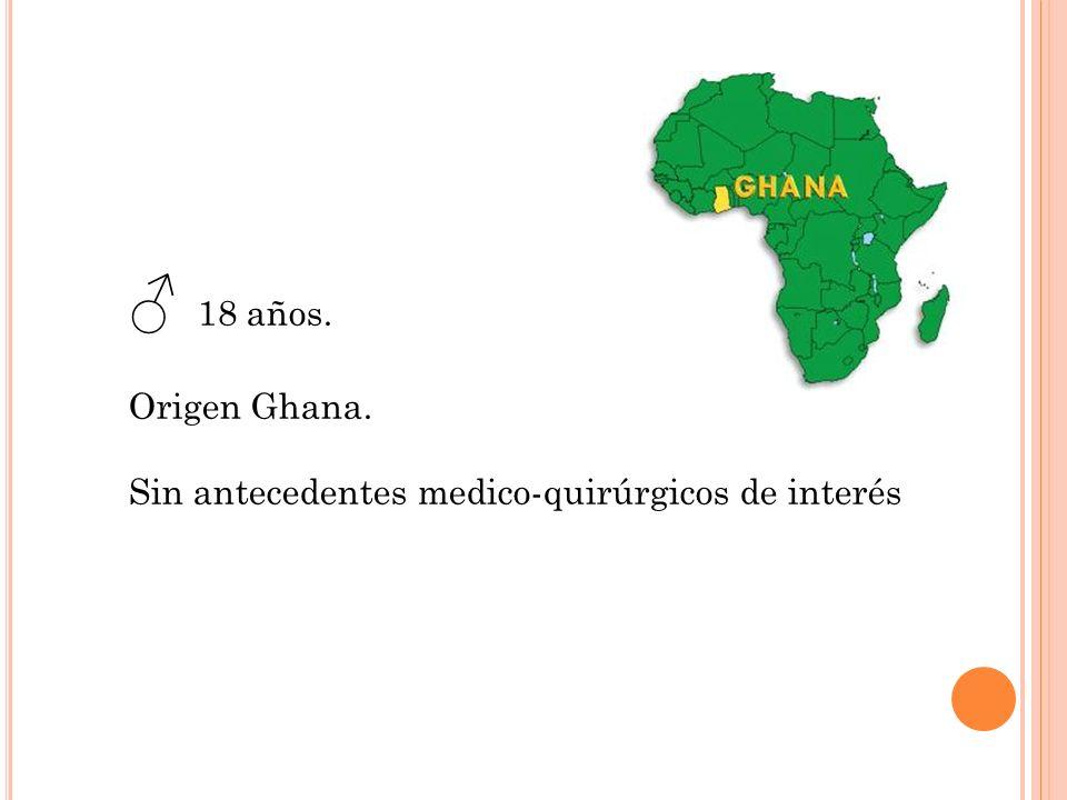 ♂ 18 años. Origen Ghana. Sin antecedentes medico-quirúrgicos de interés