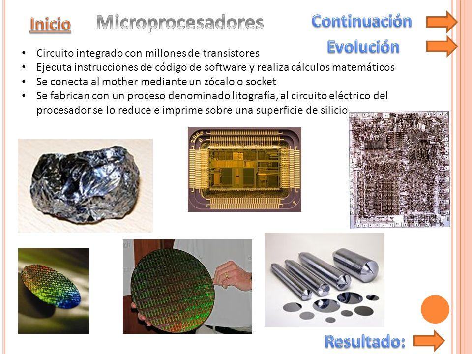 Microprocesadores Continuación Inicio Evolución Resultado: