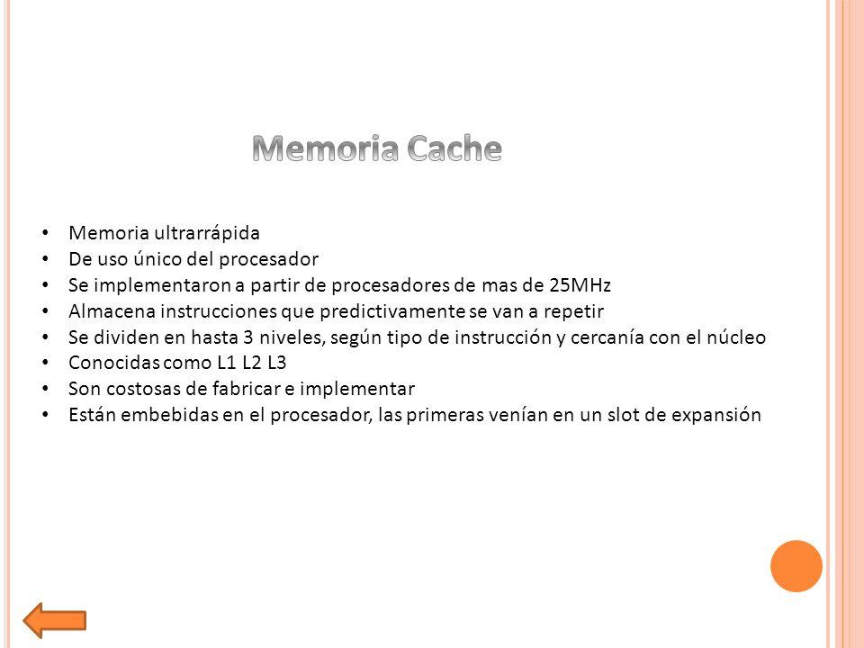 Memoria Cache Memoria ultrarrápida De uso único del procesador