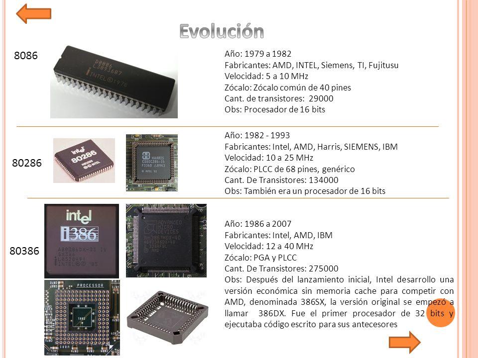 Evolución 8086. Año: 1979 a 1982. Fabricantes: AMD, INTEL, Siemens, TI, Fujitusu. Velocidad: 5 a 10 MHz.