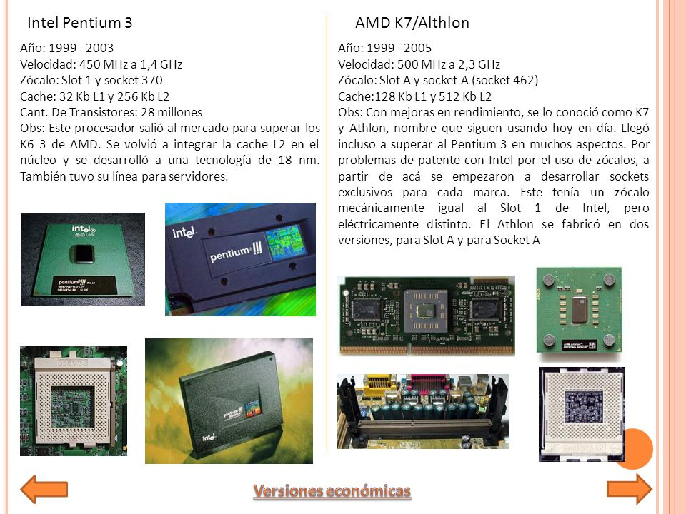 Intel Pentium 3 AMD K7/Althlon Versiones económicas Año: 1999 - 2003