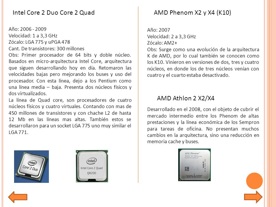 Intel Core 2 Duo Core 2 Quad AMD Phenom X2 y X4 (K10)