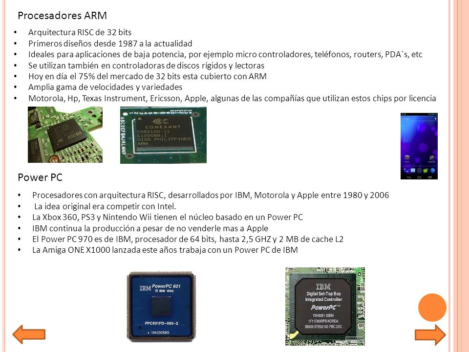 Procesadores ARM Power PC Arquitectura RISC de 32 bits