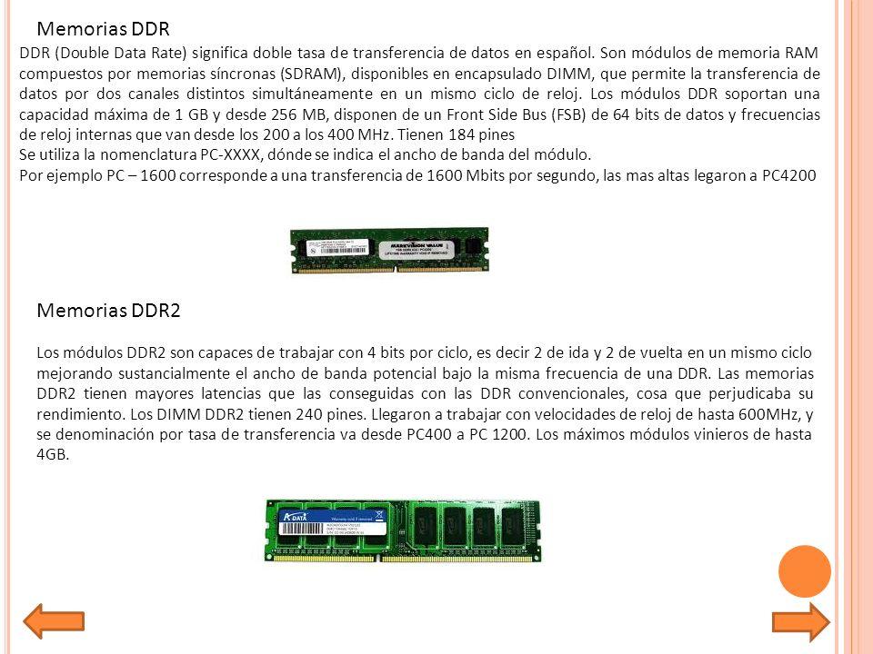 Memorias DDR Memorias DDR2