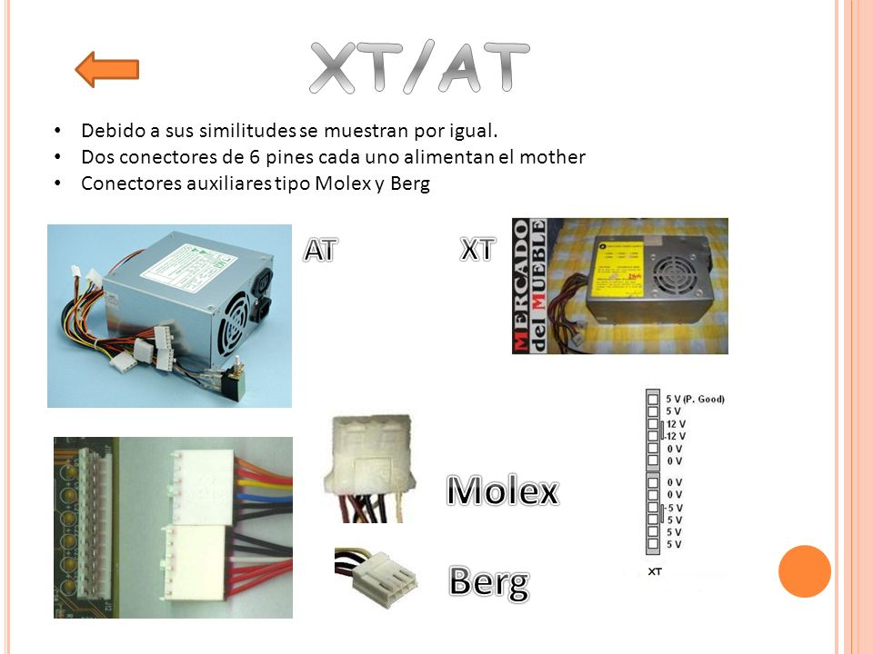 XT/AT Molex Berg AT XT Debido a sus similitudes se muestran por igual.