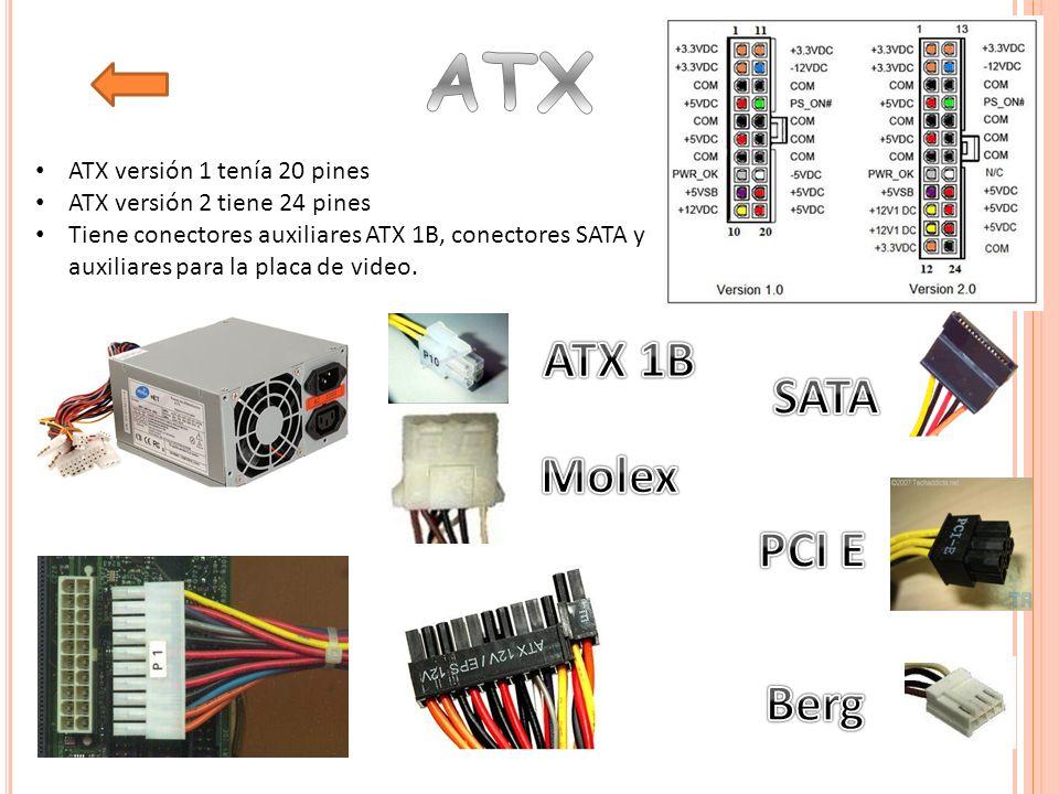 ATX ATX 1B SATA Molex PCI E Berg ATX versión 1 tenía 20 pines